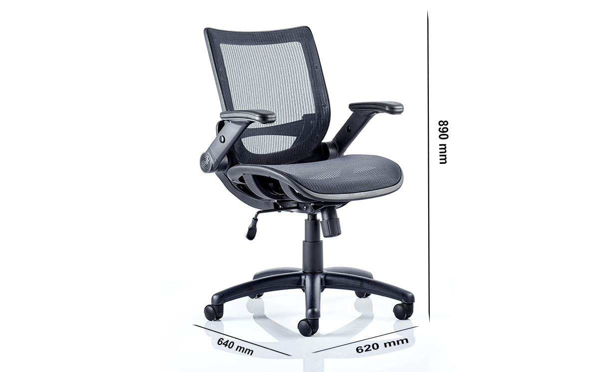Size Antonio Black Mesh Operator Chair With Folding Arms