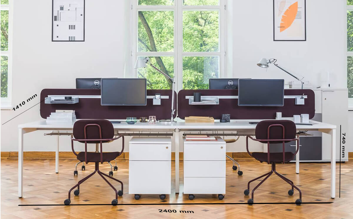 Size Bloom 4 Four Person Office Desk