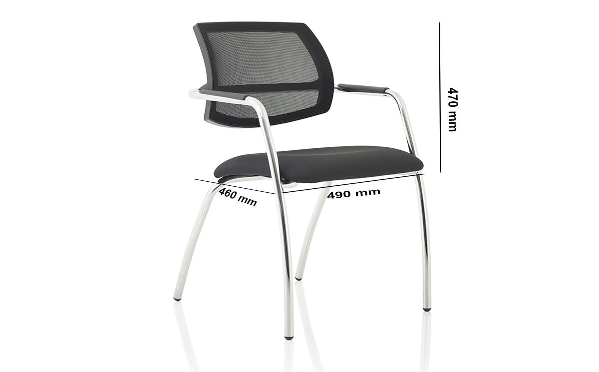 Size Calix 1 Black Mesh Straight Leg Visitor Chair