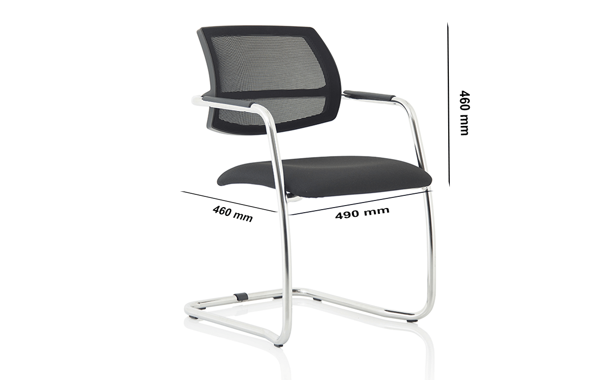 Size Calix Black Mesh Cantilever Visitor Chair
