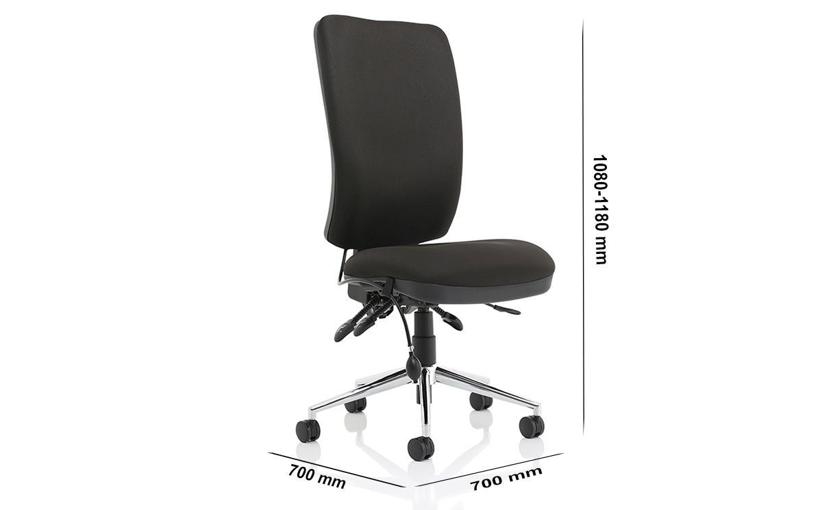 Size Cameo High Back Black Chair Without Arms