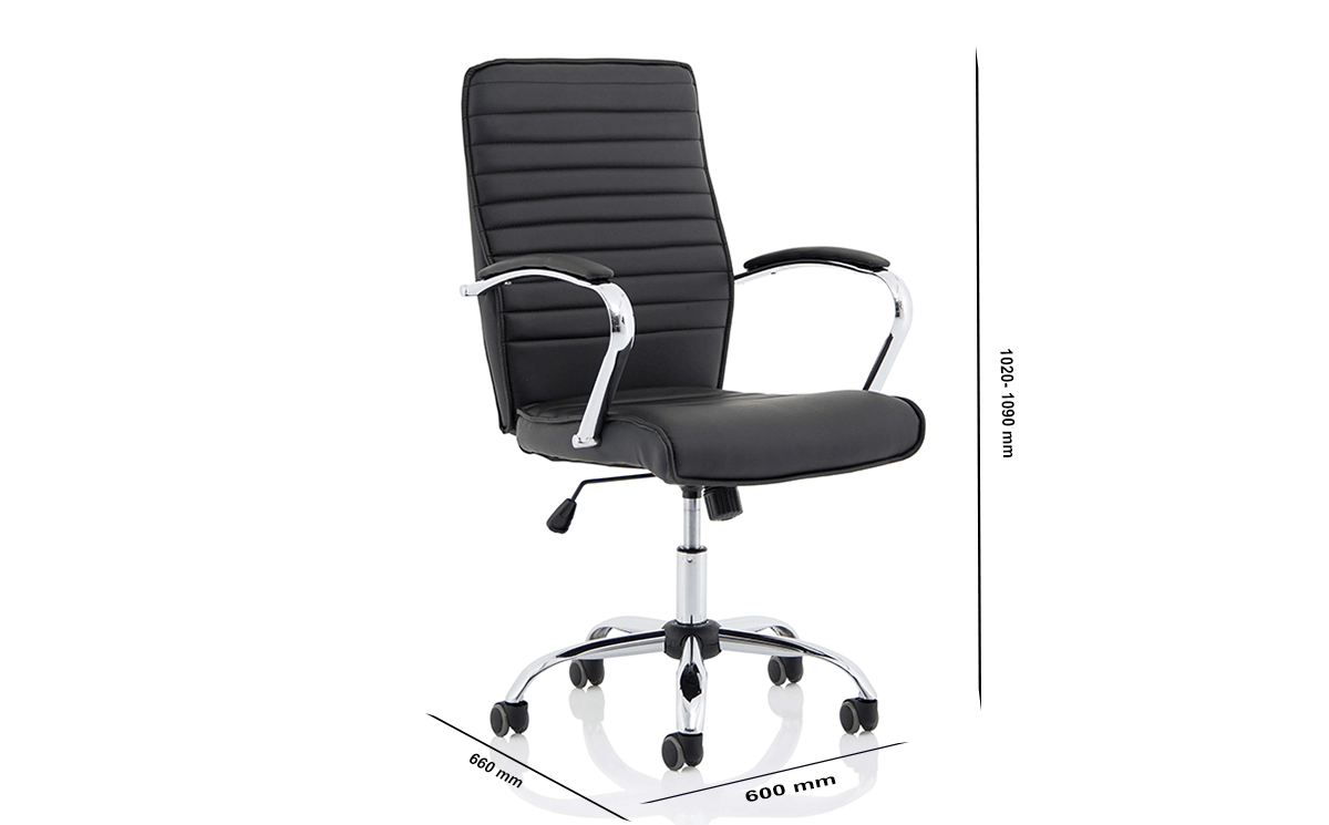 Size Ciana Black Leather Chair With Arms