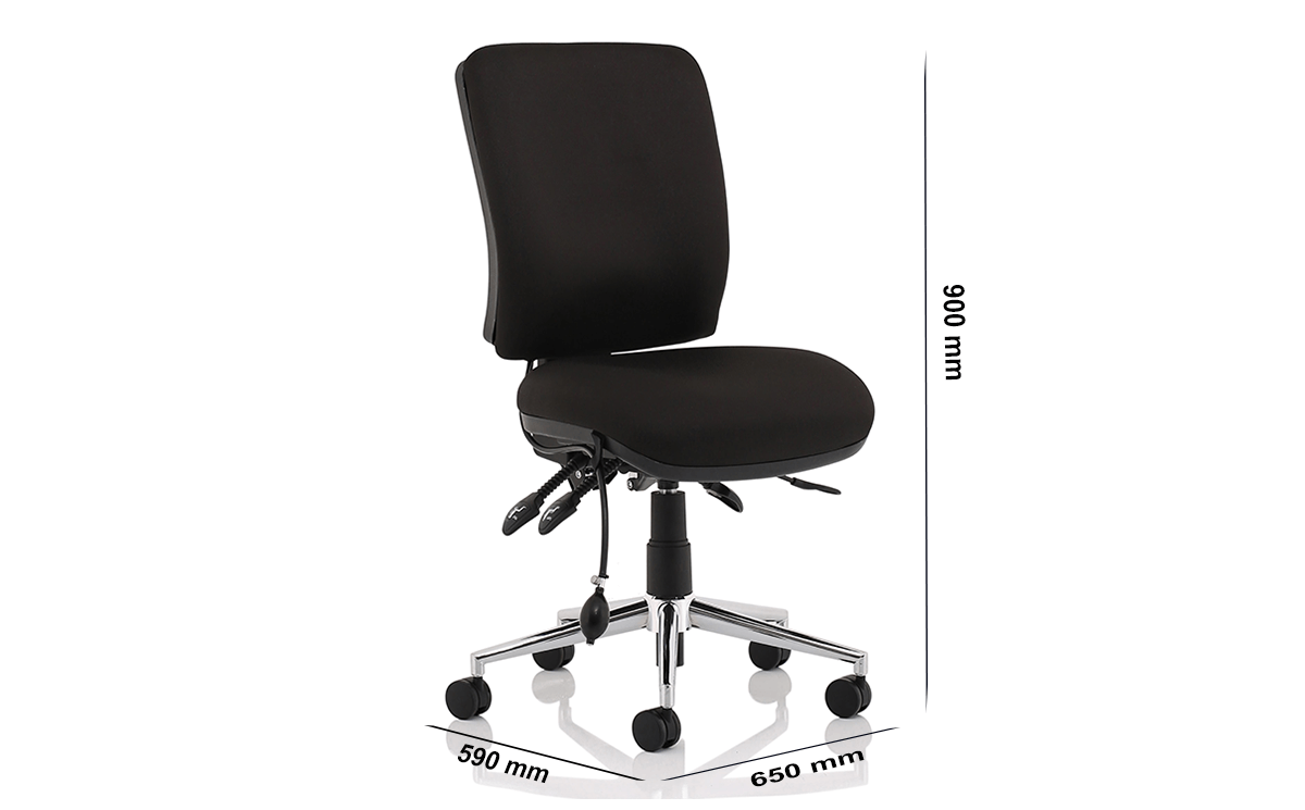 Size Ciandra Medium Back Black Chair Without Arms