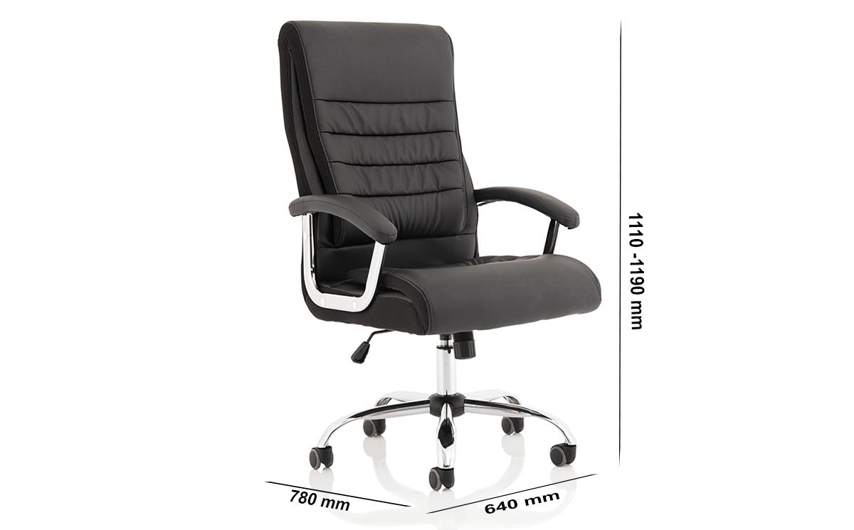 Size Cinzia High Back Black Polyurethane Chair