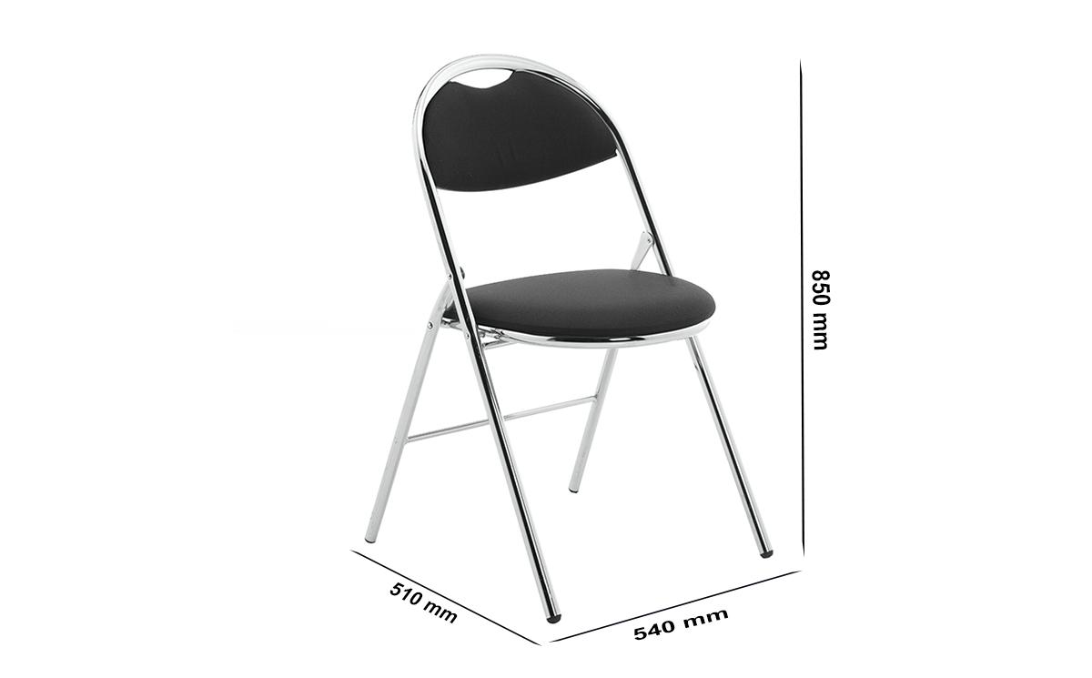 Size Diva Medium Black Vinyl Folding Chair