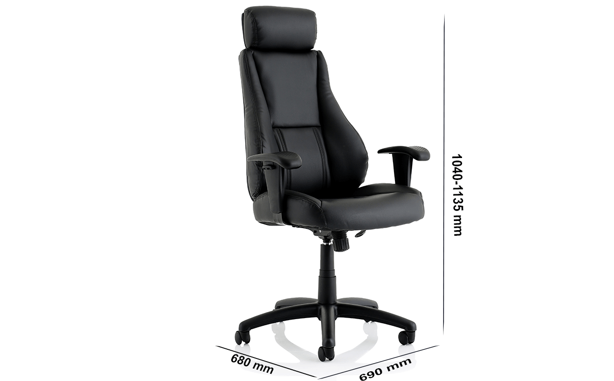 Size Dixon Black Leather Chair With Headrest
