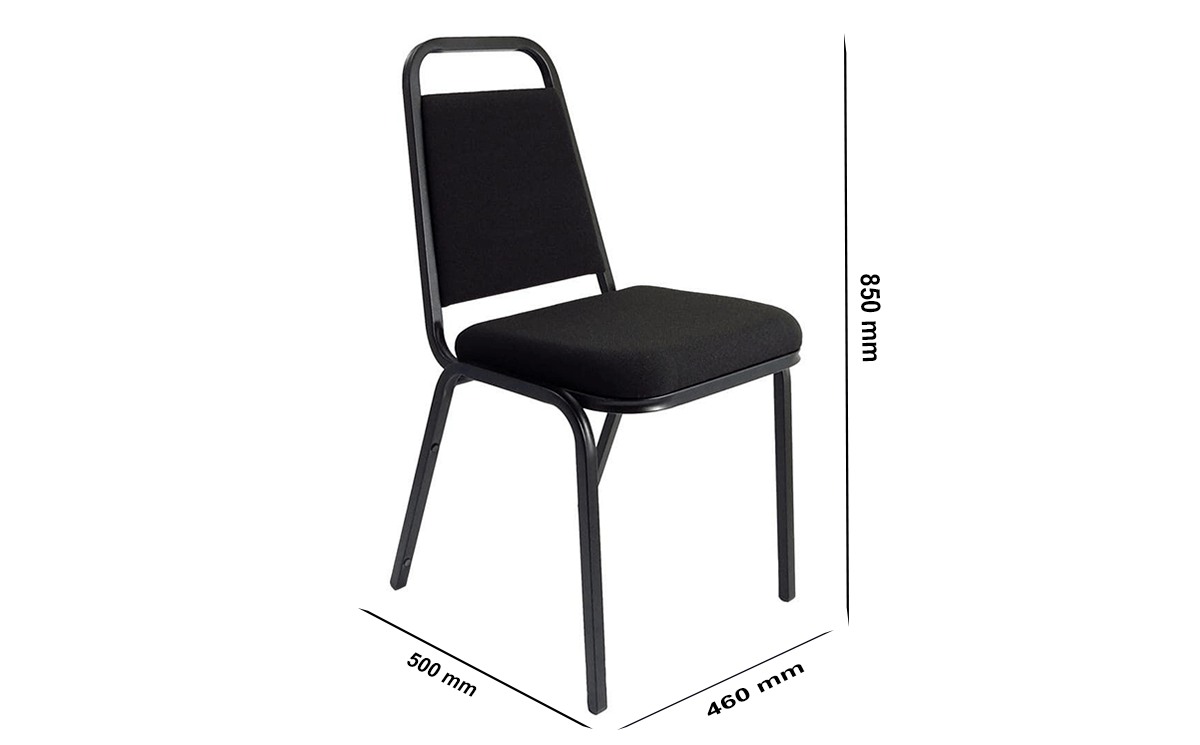 Size Dulce Medium Black Fabric Stacking Visitor Chair