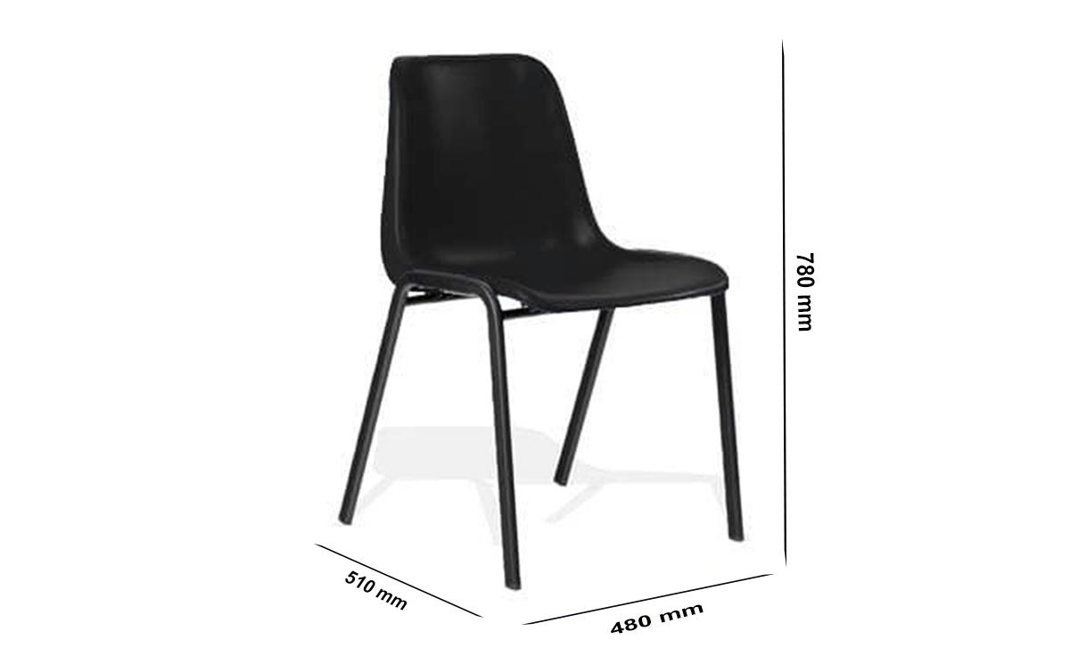 Size Duran Black Polypropylene Stacking Visitor Chair
