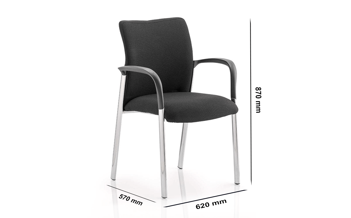 Size Elio – Black Fabric Visitor Chair With Arms