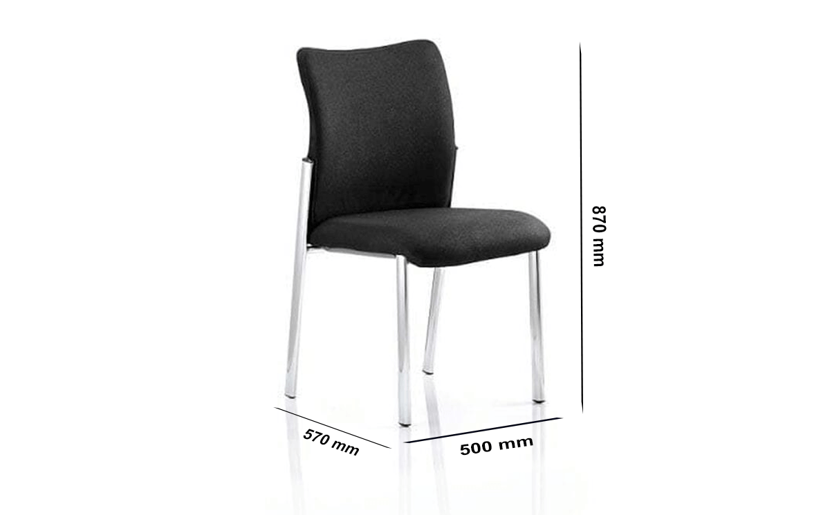 Size Elio – Black Fabric Visitor Chair Without Arms