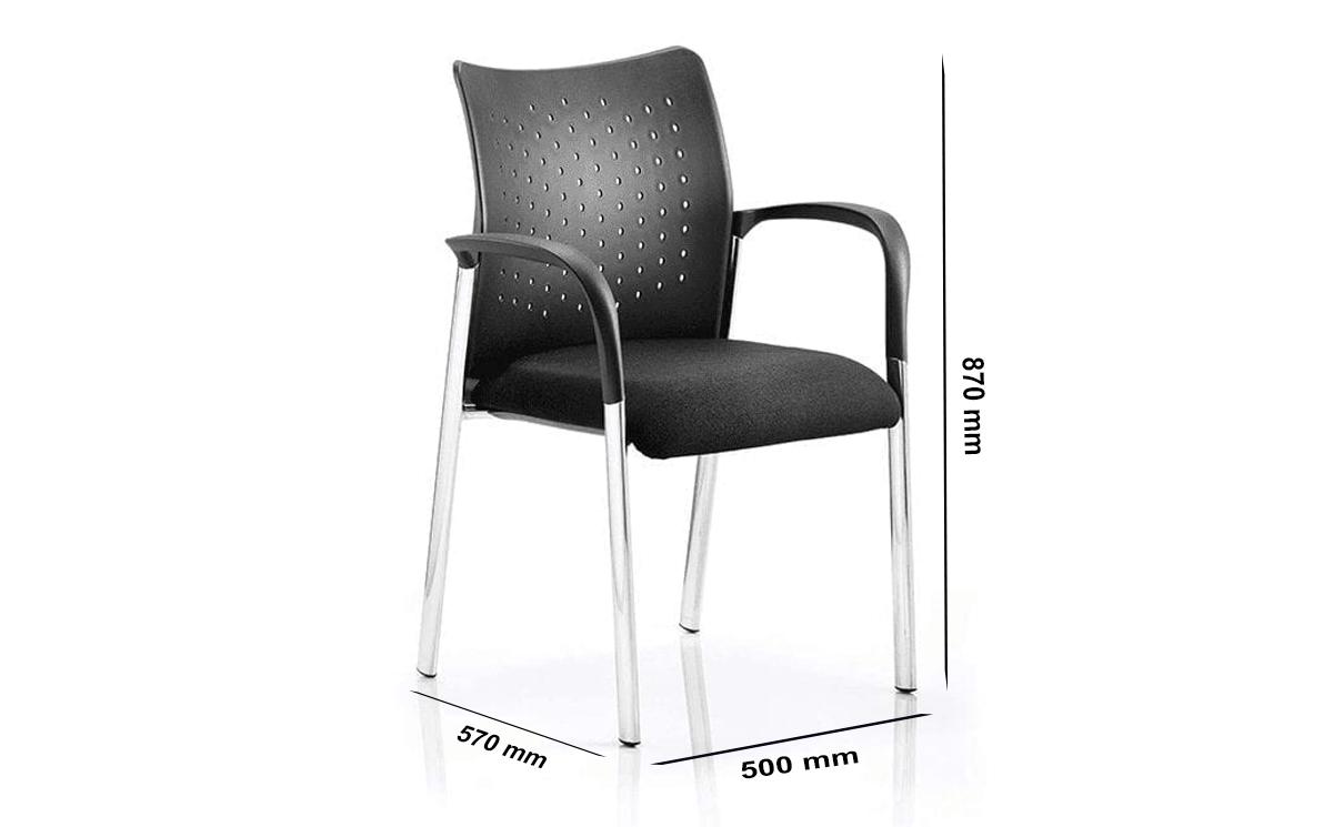 Size Elio 1 – Medium Back Black Fabric Visitor Chair
