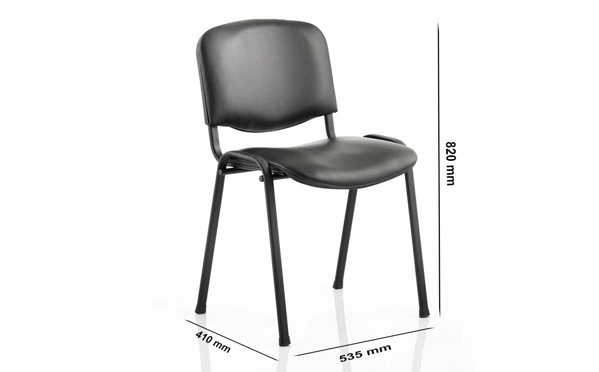 Size Eloisa Medium Black Stacking Chair Without Arms