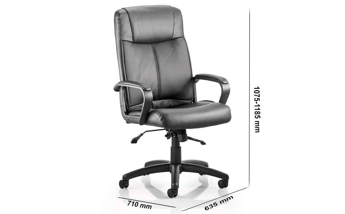 Size Glover Black Bonded Leather Executive Chair With Arms