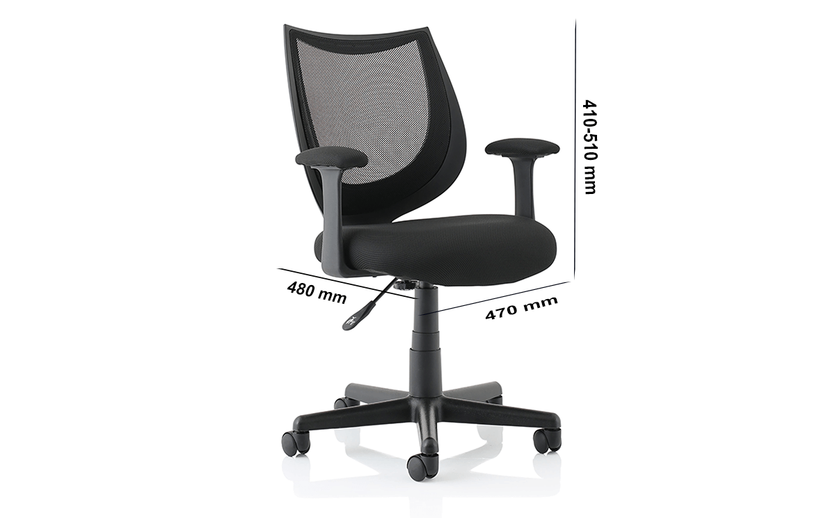 Size Lucca Black Mesh Chair With Fixed Arms