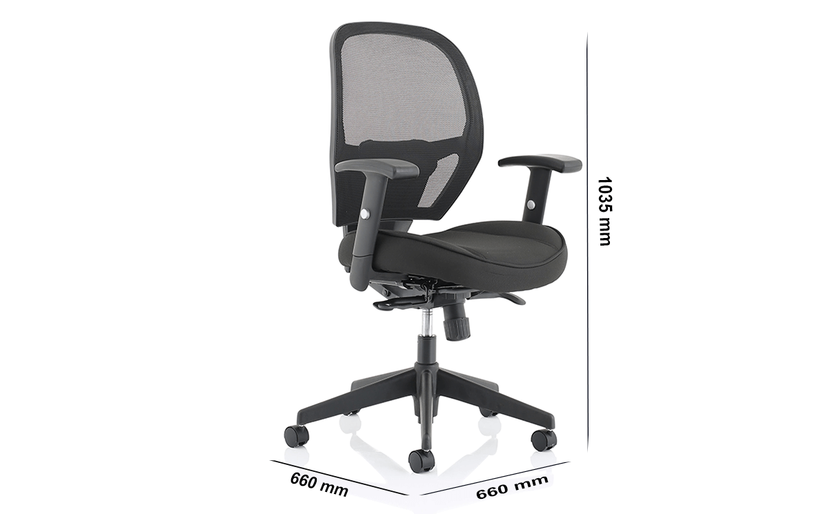 Size Luciana Medium Black Mesh Chair With Arms