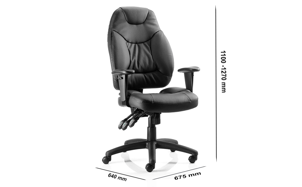 Size Lucinda Medium Black Operator Chair With Arms