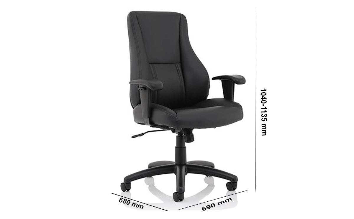 Size Marcel High Back Black Leather Chair