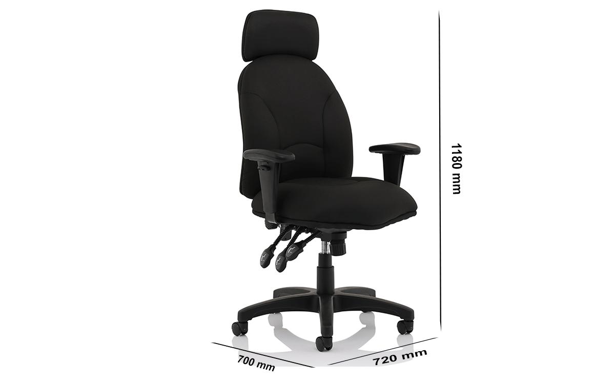Size Martina Black Fabric Executive Chair