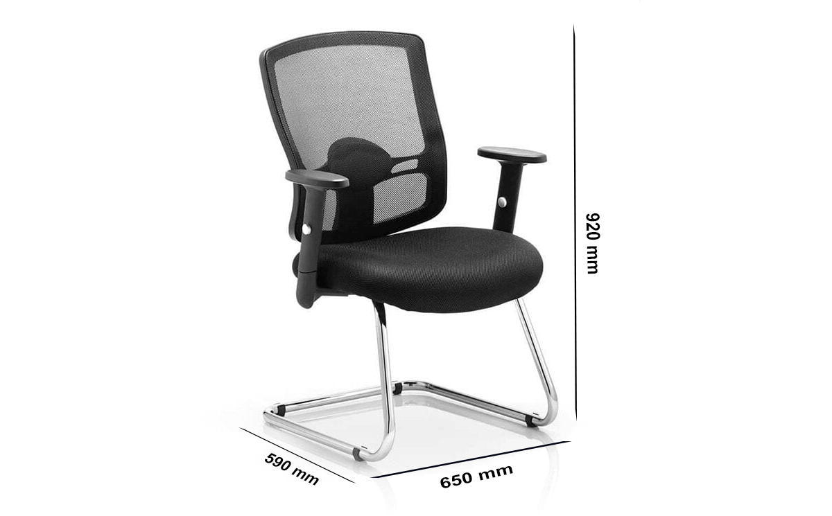 Size Oregon – Chrome Cantilever Startup Visitor Chair