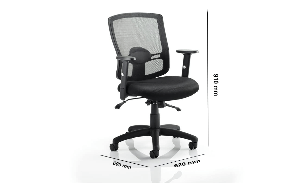 Size Oregon 2 Black Mesh Operator Chair With Arms