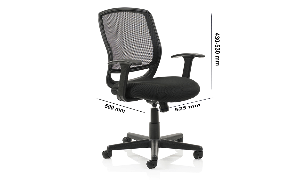 Size Ova Black Mesh Operator Chair With Arms