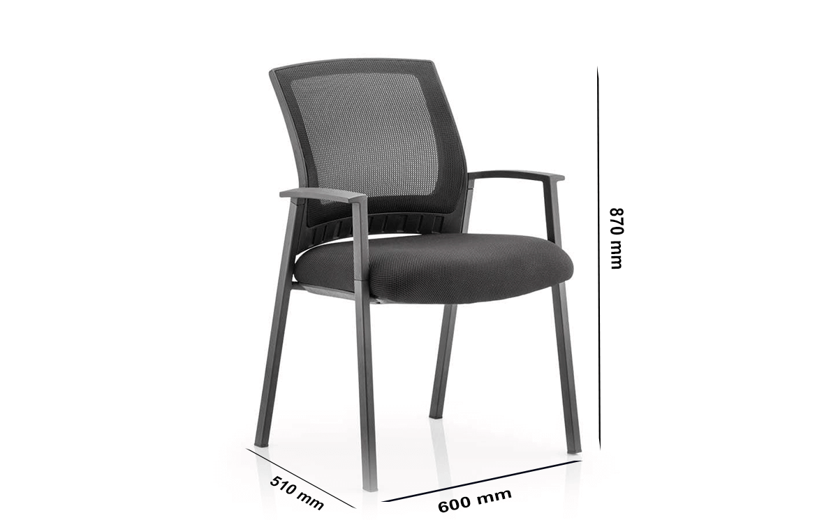 Size Posto – Black Visitor Startup Chair With Arms