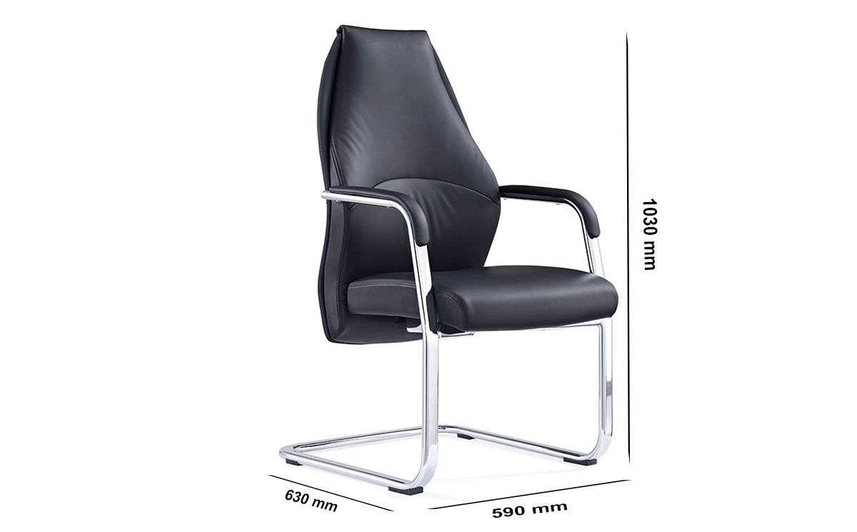 Size Ricco – High Back Black Cantilever Chair With Arms