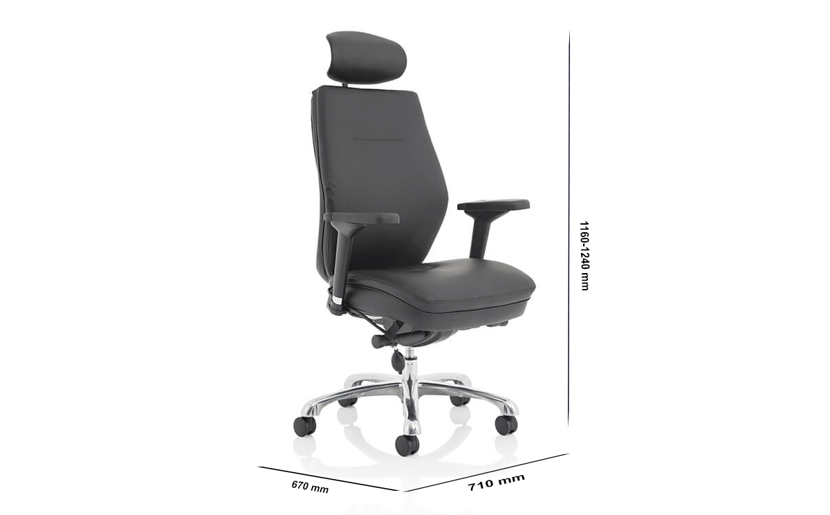Size Roque Black Chair With Arms & Headrest Fabric