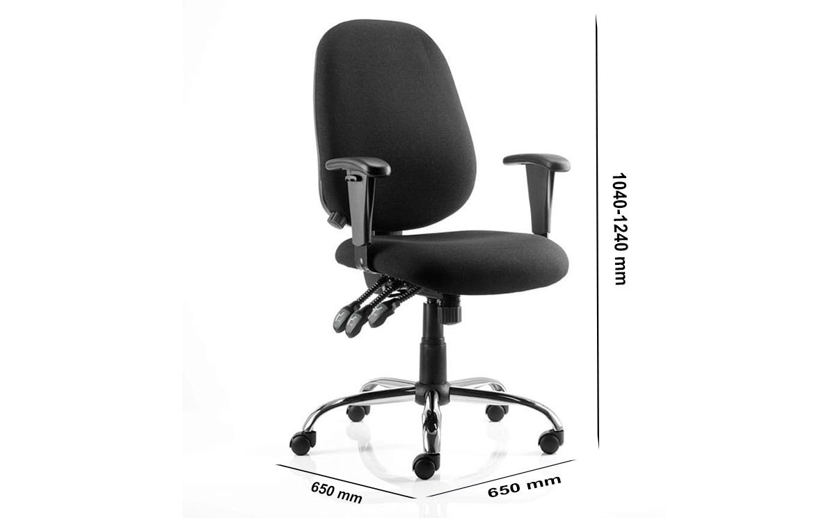 Size Rosa Black Fabric Operator Chair With Arms