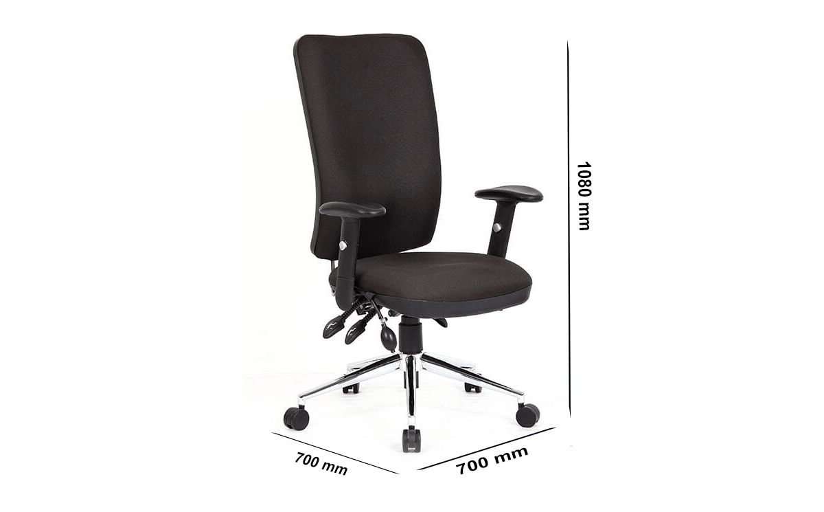 Size Selena 3 – High Back Task Operator Office Chair Black With Arms
