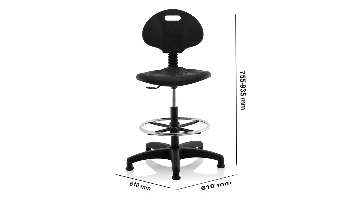 Size Stella Black Polyurethane Operator Chair Without Arms