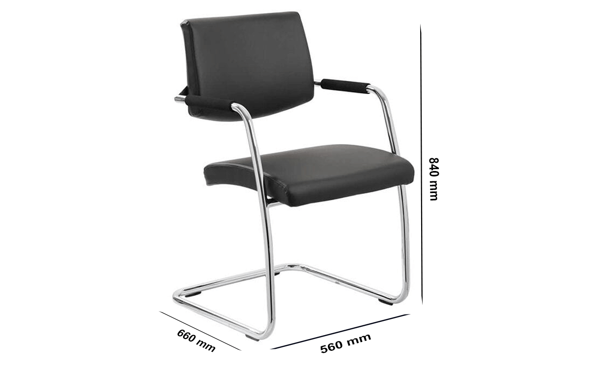 Size Velma – Black Cantilever Visitor Chair With Arms