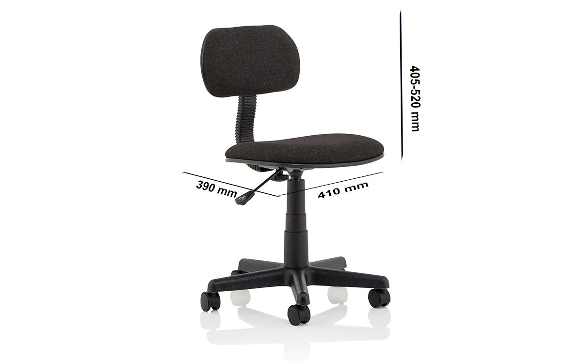 Size Vonda Black Fabric Typist Chair