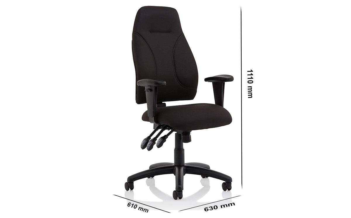 Size Elisa Black Fabric Chair With Height Adjustable Arms