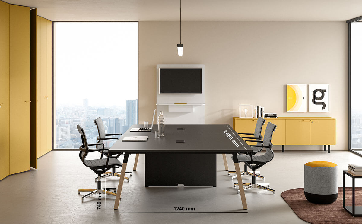 Union Meeting Table With Optional Centeral Panel Legs Dimension Image
