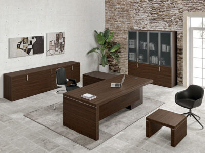 Alcee 1 Slab Legs Executive Desk With Optional Credenza Unit Main Image