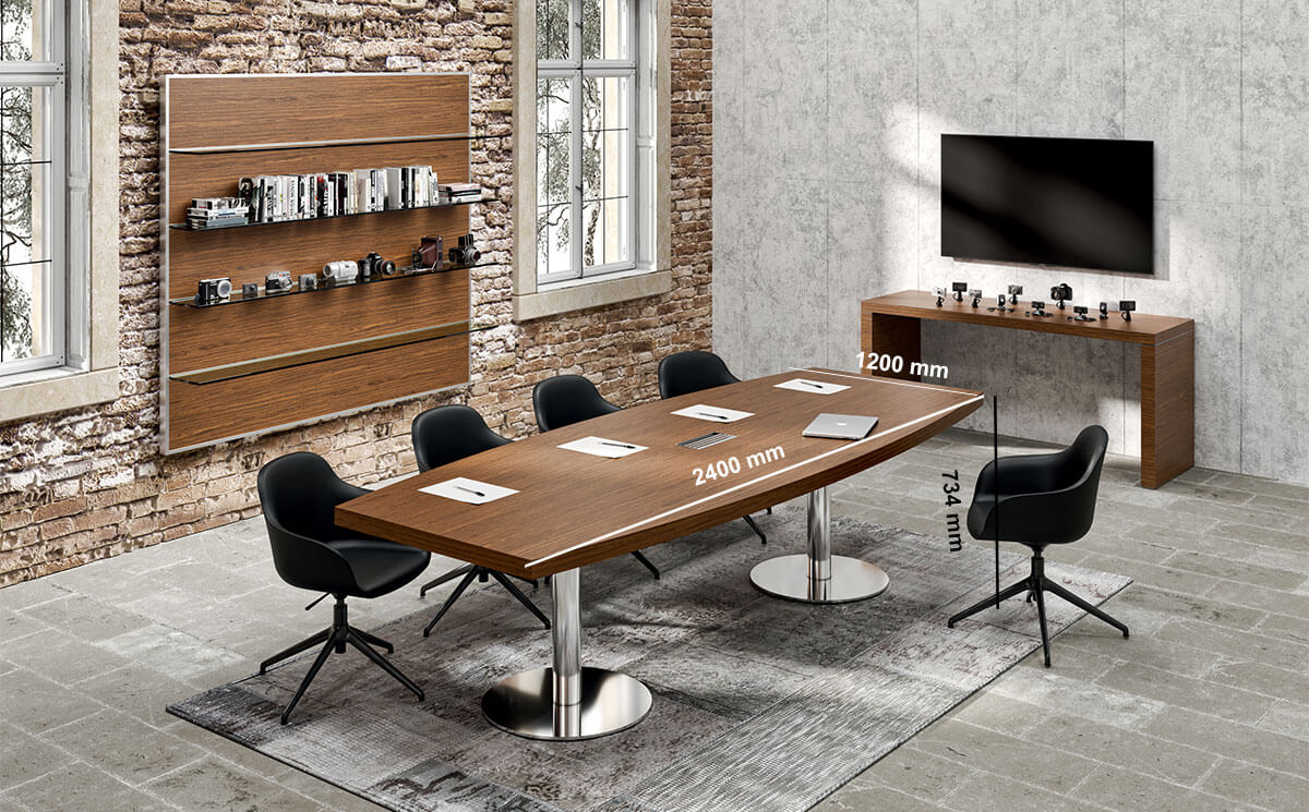 Alcee 2 Barrel Shaped Meeting Room Table In Round Base Legs Desk Size