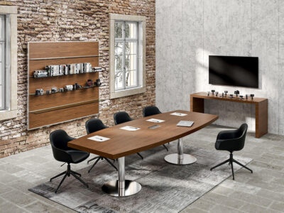 Alcee 2 Barrel Shaped Meeting Room Table In Round Base Legs Main Image