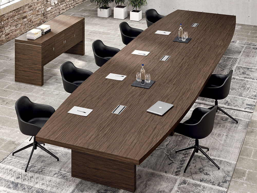 Alcee 3 Barrel Shaped Meeting Room Table In Slab Legs Main Image