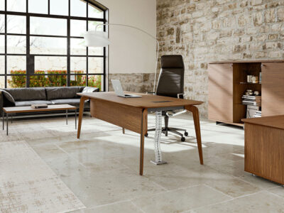 Aletta 1 Wood Executive Desk With Metal Legs With Wood Cover 1
