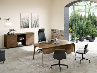Aletta 1 Wood Executive Desk With Metal Legs With Wood Cover 2