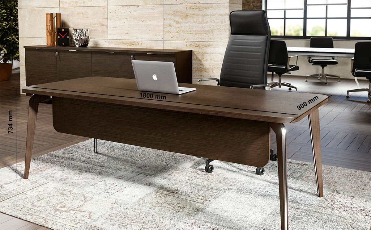 Aletta 1 Wood Executive Desk With Metal Legs With Wood Cover Desk Size