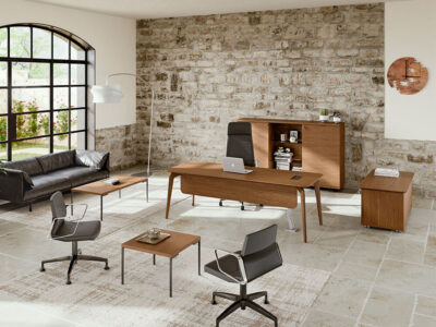 Aletta 1 Wood Executive Desk With Metal Legs With Wood Cover Main Image