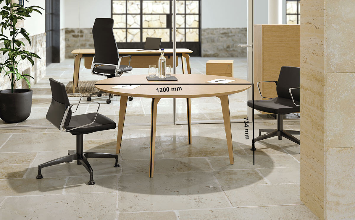 Aletta 3 Round Meeting Room Table Desk Size