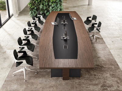 Antioch 2 Barrel Shaped Meeting Room Table With Modesty Panel 1