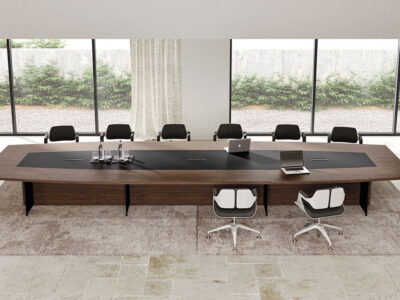 Antioch 2 Barrel Shaped Meeting Room Table With Modesty Panel 2