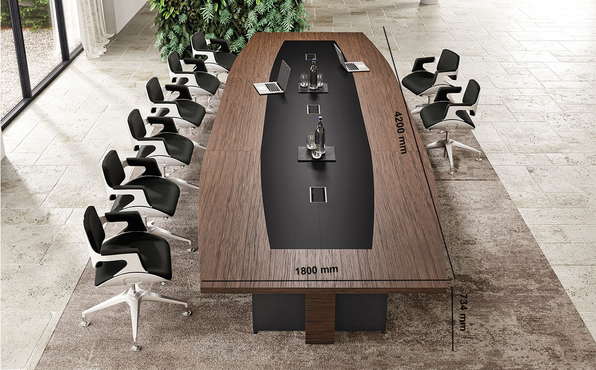 Antioch 2 Barrel Shaped Meeting Room Table With Modesty Panel Desk Size