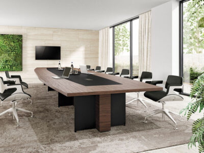 Antioch 2 Barrel Shaped Meeting Room Table With Modesty Panel Main Image