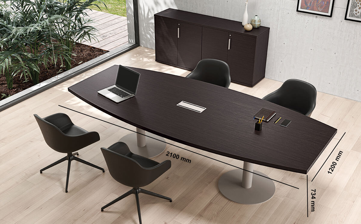 Bravvo 5 Barrel Shaped Meeting Room Table In Round Legs Desk Size