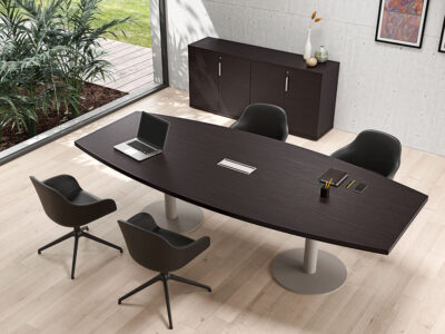 Bravvo 5 Barrel Shaped Meeting Room Table In Round Legs Main Image
